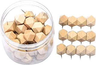 Wood Push Pins, JoyFamily 50 Pieces Geometric Decorative Thumb Tacks with Box for Cork Board, Map, Photos and Calendar, Natural Color
