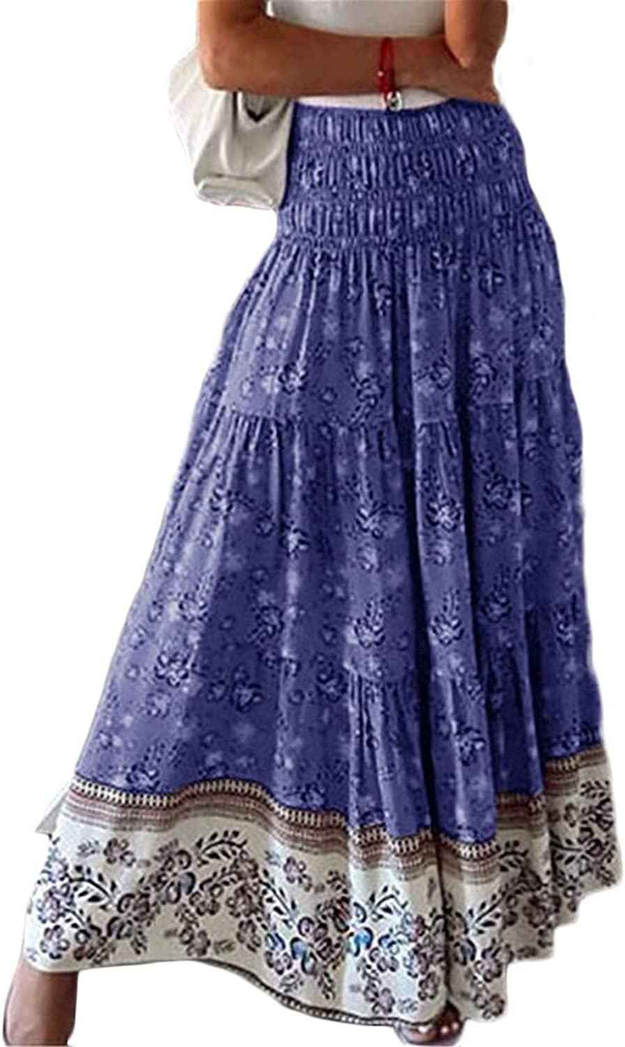 CHARTOU Women's Vintage Ruched High Waist Pleated Floral Print A-Line Long Boho Skirt