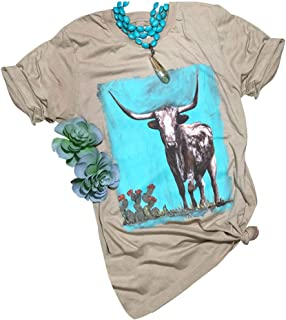 Western Bison Printed T Shirts Womens Western Style Desert Cactus Casual Tops Tees
