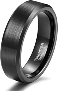 Shuremaster 4mm 6mm 8mm Tungsten Carbide Wedding Band for Men Women Engraved I Love You Couple Ring Black/Silver Beveled Edges Brushed Size 4-15