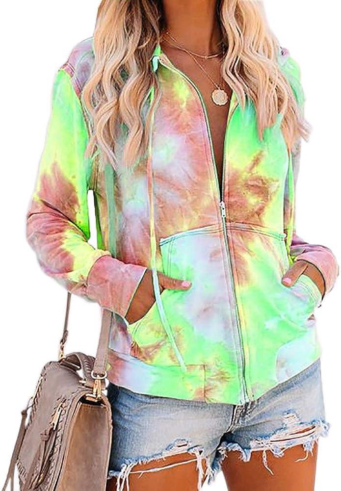 Womens Tie Dye Sweatshirt Zip Sale Up Loose Sleeve Casual Long Hoodie 2021