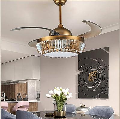 42''Retro Golden-bronze Metal Ceiling Fan Light Retractable Fan Chandelier Led Light Fixture with Remote Control 3 Light Colors 3 Fan Speeds Change