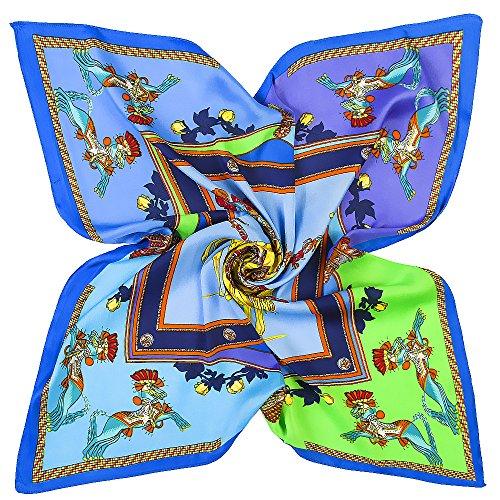 WEJNNI Imitatie zijden sjaal 60cm*60cm lente paard koets dames kleine sjaal