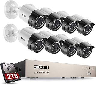 ZOSI Sistema de Seguridad 1080P CCTV Kit de Cámara Vigilancia Hogar 8CH HD 4-en-1 Grabador DVR + (8) Cámara Bala Exterior + 2TB Disco Duro Visión Nocturna Detección de Movimiento Acceso Remoto