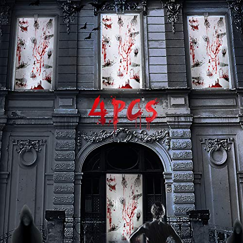 Joyjoz Halloween Horror Poster 4PCS Puerta de Halloween Decoración de Ventana Esqueleto Sangriento Decoraciones de Fiesta de Halloween Casas Encantadas