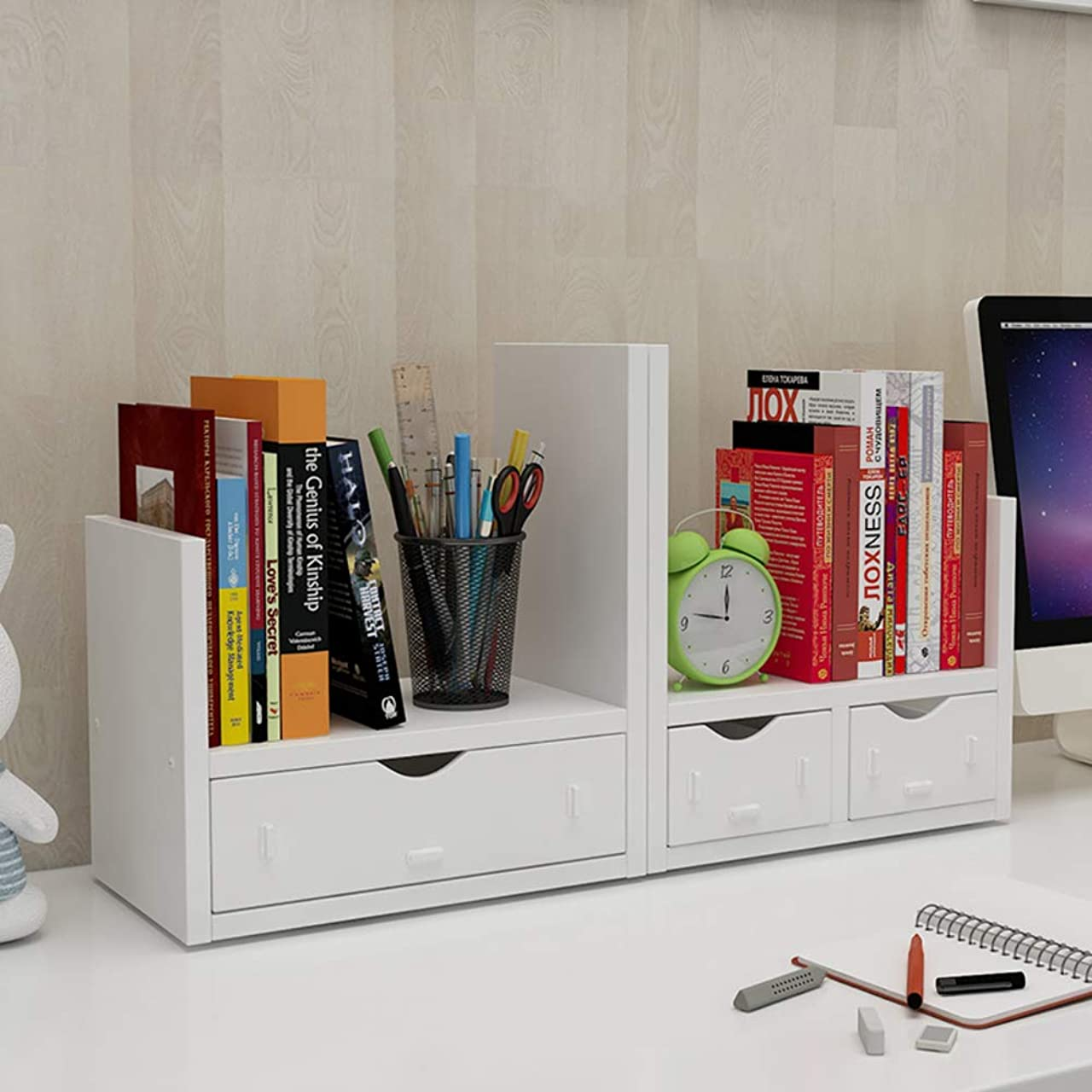 形式うめき声アプライアンスデスクオーガナイザー 引き出し付き,調整可能 自立 オフィス収納ラック 飾り棚 ブックストレージドロワー&ディスプレイシェルフラック-a 61x17x30cm(24x7x12inch)