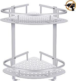 ADOVEL baño Estante estantería de Esquina, Estantes de Ducha de Aluminio Espacial Perforado Entramado de baño Muebles de baño