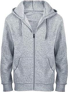 Men's Pull Over Hoodie, Big & Tall Full Zip Fleece Hoodie Midweight Plain Hooded Sweatshirt