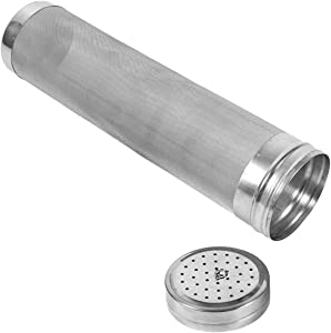 Beer Dry Hopper Filter,300 Micron Filter Stainless Steel Mesh Cornelius Keg for Home Beer Brewing Kettle (2.8 x 11.8 inch)