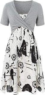 Vestido para Mujer, Vestido de Flores de Cami de Verano Casual para Mujeres con Camiseta Corta