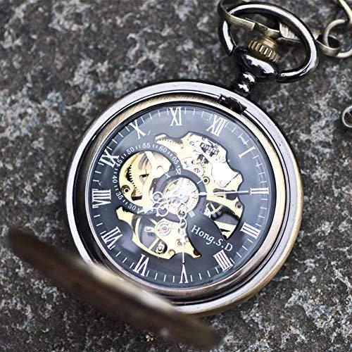 Reloj de bolsillo, Plum Flip Hollow automático mecánico reloj hombres y mujeres del viejo Shanghai vintage reloj de bolsillo colgante collar mesa