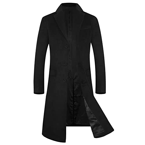 7b2fb06679372 Men s Trench Coat 80% Wool Blend French Long Jacket Business Top Coat