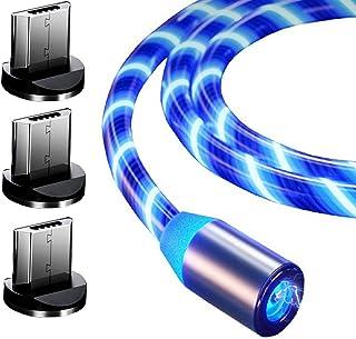 Top-Longer Magnétique Téléphone De Chargeur Câble, Câble De Charge Magnétique Micro USB 360 ° Rotatoire USB avec Voyant à LED (1m,Blue)