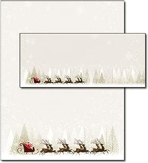 Santa & Reindeer Holiday Letterhead & Envelopes