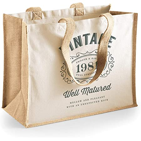 40th Birthday 1980 Gift Idea For Her Women Lady Shopping Bag Present Tote 40