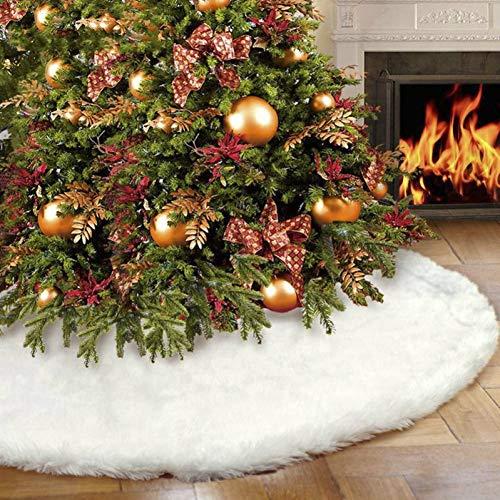 Rocita Weiß Plüsch Weihnachtsbaum-Rock-Schürzen Weihnachtsbaum Teppich Christmasfor Start des neuen Jahres Weihnachtsdekor-31