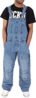X-xyA Loose Denim Bib Overalls for Men Dungarees Work Jeans Jumpsuits with Multiple Pockets,Light Blue,5XL