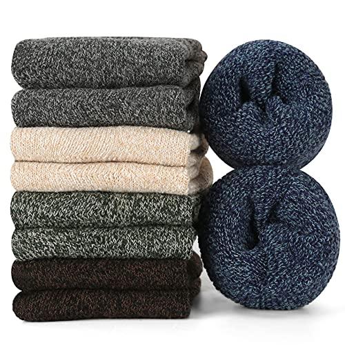 Gozlu Thermosocken Herren, 5 Paar Verdicken Winter Warme Socken, Hautfre&liches und Weiches Wollsocken für Kaltes Wetter Wandern Skating