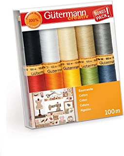 Gutermann Colorful Cotton 50 Mercerized Quilting Thread Set 10 x 100m Reels