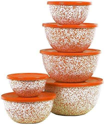 Calypso Basics 12pc Enamel Bowl Set, Orange