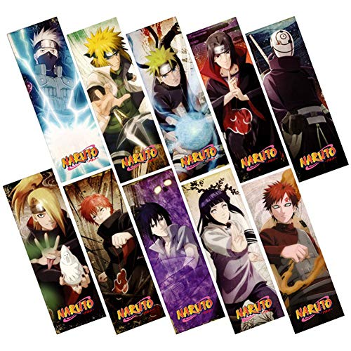SosoJustgo2 10 Pcs Cute Anime Bookmarks Waterproof Transparent PVC Plastic Bookmark Beautiful Book Marks Gift|Bookmarks Set(Naruto Set)