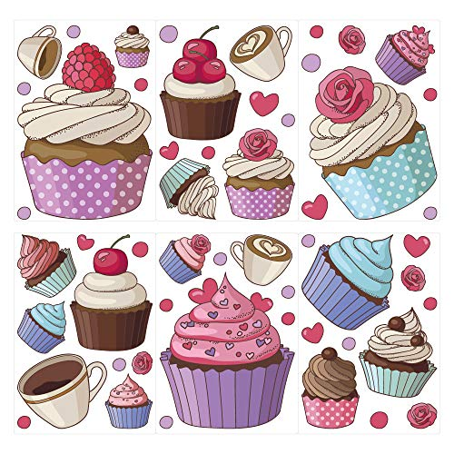 dekodino® Wandtattoo Cupcakes, Kaffeetassen und Herzen Set 20 Stück Wandsticker