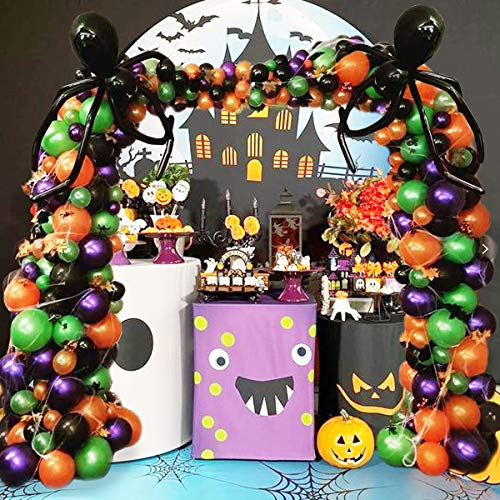 WECEPAR Halloween Balloon Garland Arch kit 227 Pieces with Halloween Spider Web and Bat,Maple Leaf,Eyes Stickers,Black Orange Green Purple Balloons Spider Balloons for Halloween Day Party Decorations