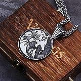 NDYD Vikingos Nórdicos Hombres Cabeza De Lobo De Acero Inoxidable Y Árbol De La Vida Collar con Colgante De Vikingo Nórdico Collar De Amuleto Escandinavo con Caja De Madera Valhalla,70cm