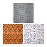 ABAKUHAUS Pack de 3 Bandanas Unisex, Patrón de rombos y zigzags Desierto Duna pendiente púrpura Rondas, Multicolor