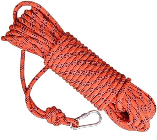 ZAIYI-Climbing rope Corde De Délivrance De Sécurité De Camping D'aventure d'escalade Extérieure De 12MM,Orange-12mm30m