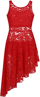Kids Girl's Cutout Back Lyrical Dance Dress Irregular High-Low Skirt Ballroom Dancing Costumes