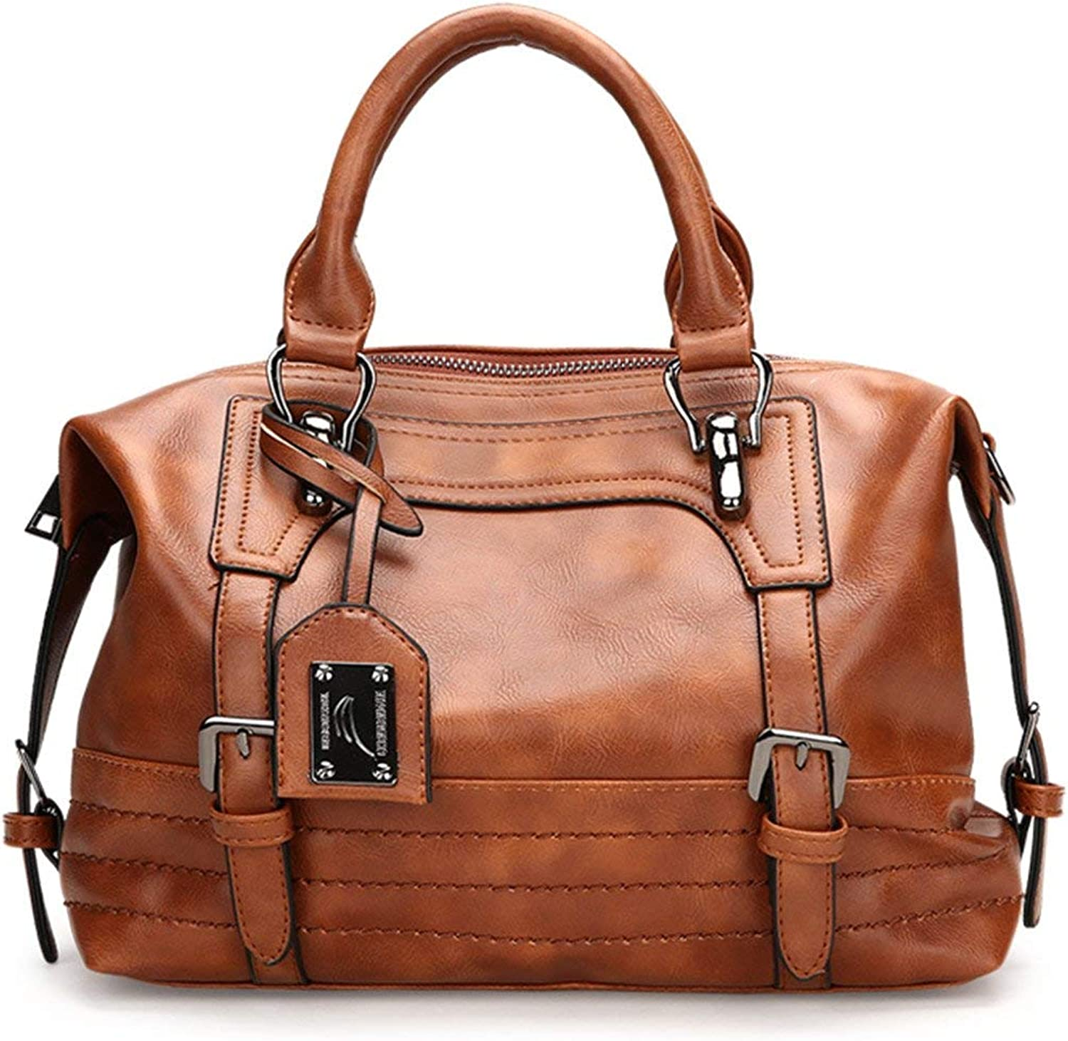 Women Retro Handbag, Oil Wax Faux Leather Shoulder Bag Tote Crossbody Bag for Ladies with Long Strap