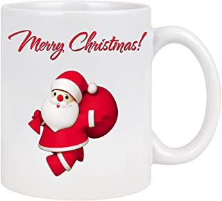 Merry Christmas Coffee Mug Printing with 3D Santa Claus Coffee Mug White Ceramic Coffee Tea Mug Funny Xmas Holiday Gifts for Family Friends (Red Santa Claus, 11 Oz)