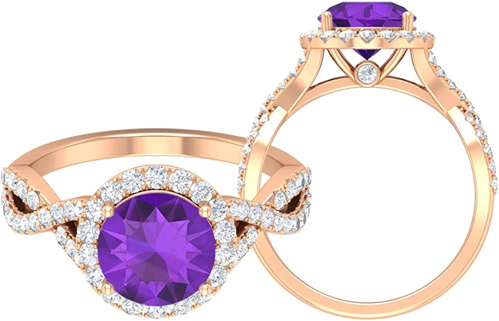 8.00 MM Solitaire Amethyst Ring Moissanite Sale Atlanta Mall Special Price Halo wit D-VSSI