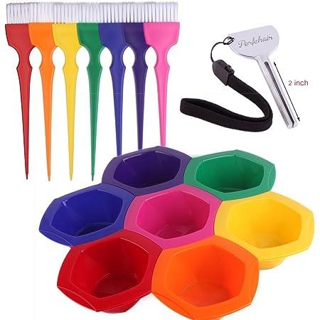 Conjunto Multicolor de Bol y Pincel de Tinte, Conjunto Arcoiris de Bol y Pincel de Coloración – 7 colores