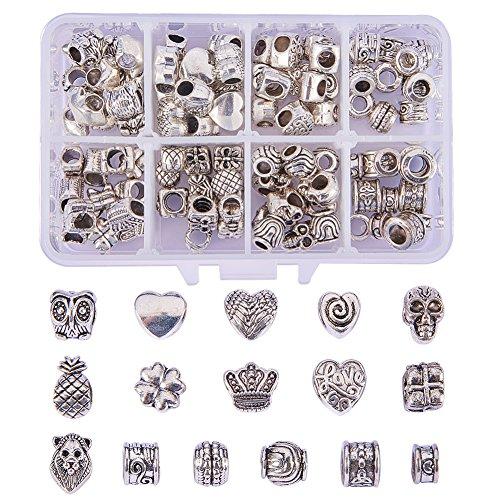 NBEADS Perline Europei, 96 Pezzi/Scatola 16 Forme Perline Distanziate Allentate in Argento Antico Tibetano con Foro Grande per La Creazione di Gioielli