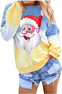 God's pens Women's Santa Claus Print Long Sleeve with Pocket Christmas Round Neck Contrast Color Pullover Sweatshirt