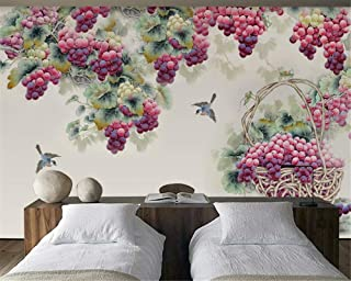 TIANXINBZ Custom Super Silky 3d Wallpaper New Fashion Personality Hand Painted Purple Grape Background wall papers home de...