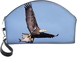 Half Moon Cosmetic Beauty Bag,Hunter Bird Carrying a Fish to The Nest in Open Blue Sky Predator Cycle of Life for Women & Girls School Travel Office