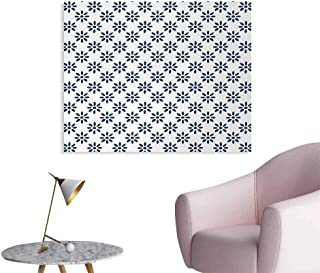 Tudouhoho Floral Wall Poster Abstract Stylized Flower Petals Summer Season Elegance in Creamic Colors Pattern Photo Wall Paper Indigo White W32 xL24