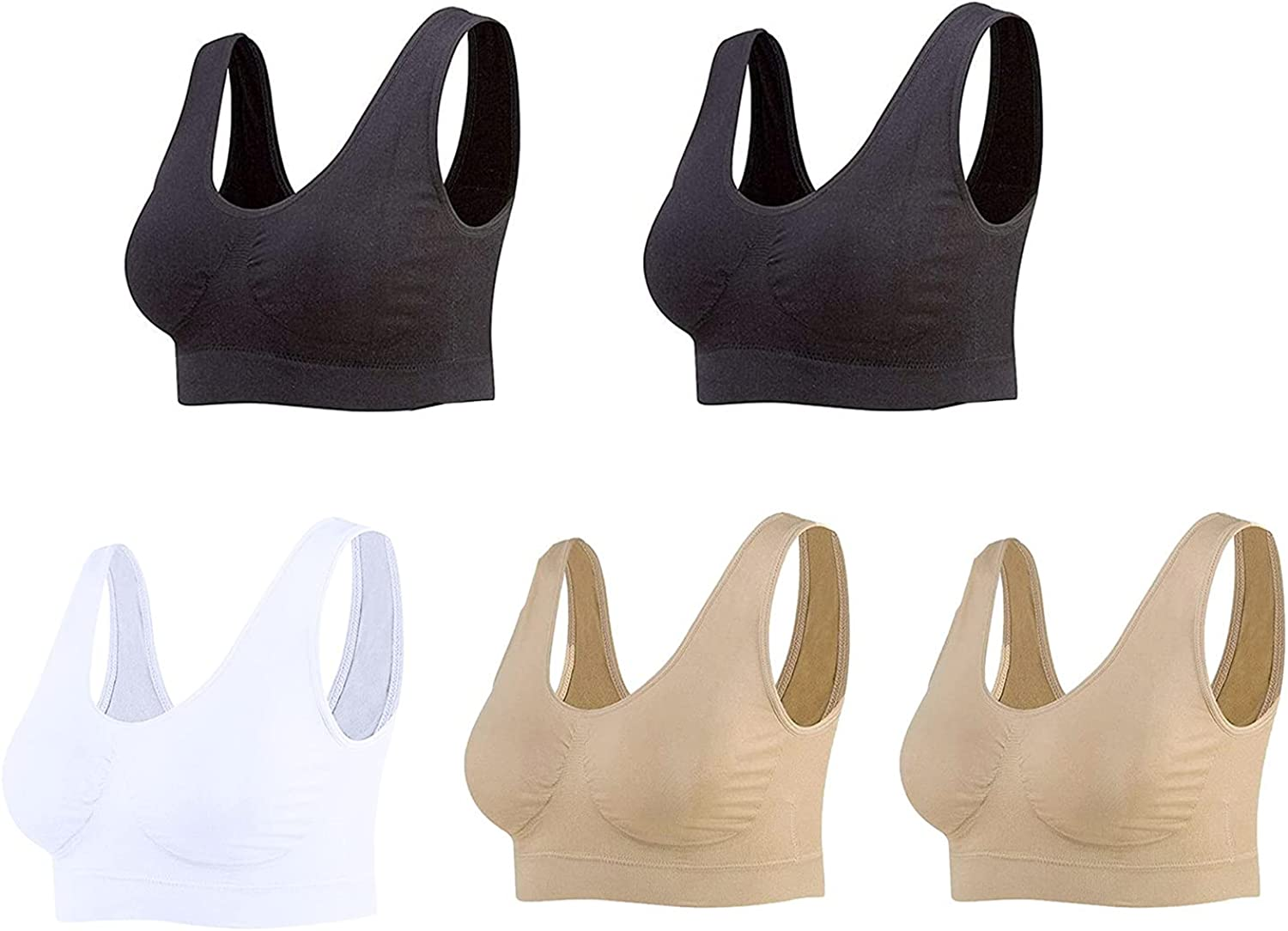 Sports Bras for Women, Seamless Comfortable Yoga Bra with Removable Pads Sexy Gift Set for Girls in All Seasons 5PC