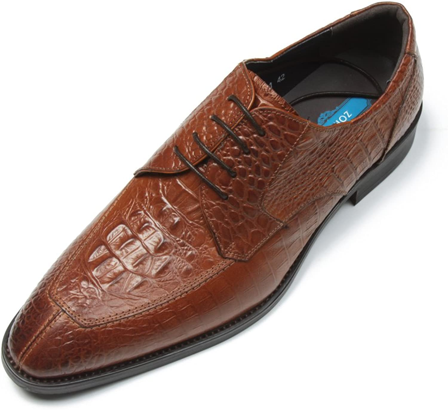 Zorgen Men's Genuine Leather shoes Rubber Sole Embossed Leather Dress Wedding Formal shoes Brown color