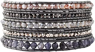 Women's Semi-Precious Stone Five-Wrap Grey Silverite Mix Bracelet