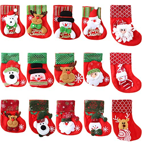 15 Piezas de Mini Calcetines de Navidad 3D Bolsa de Regalo de Fieltro de Papá Noel Monigote de Nieve Bolsa de...