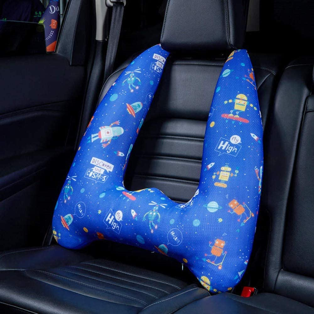 Soft and Snug Car Headrest Pillow Pinky Blue Best for Children When Traveling Adjustable with Seatbelt Kids Car Pillow with Head and Neck Support