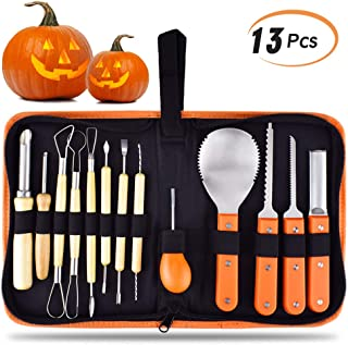 KATUMO Halloween Pumpkin Carving Tools, 13 Pcs Heavy Duty Stainless Steel and thickening Professional pumpkin cutting supplies Kit for Halloween Decoration with Carrying Case
