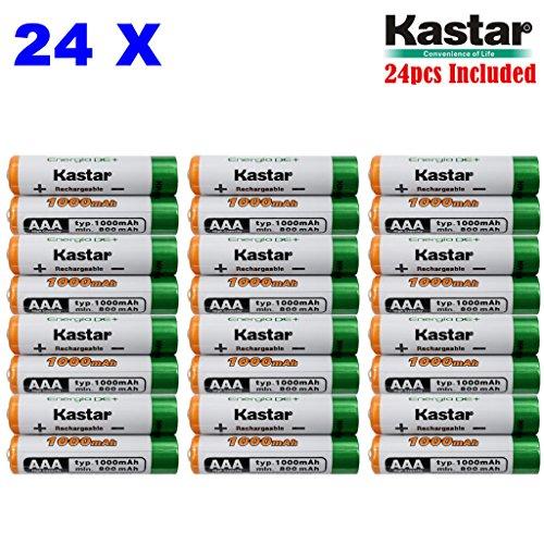 Kastar AAA 24-Pack Ni-MH 1000mAh Super High-Capacity Rechargeable Battery Pre-Charged for Panasonic HHR-4DPA HHR-55AAABU HHR-65AAABU, Out Door Solar Light, Garden Landscaping Solar Light, Path Light