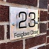 XIN NA RUI Placas de acrílico transparente para puerta con placa de matrícula de aluminio compuesto de plástico, número de casa (tamaño : 14 x 20 cm)