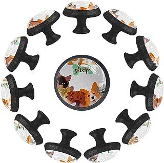 Boutons D'armoire 12 Pcs Poignés Poignée De Champignons Porte Poignées avec Vis pour Cabinet Tiroir Cuisine,Animal de comp...