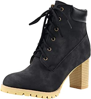 Women's Closed Round Toe Lace-Up Chunky Heel Combat Boot Fashion Ankle Boots New Women's Booties